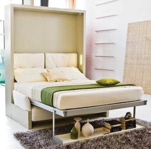 "The same model wall bed (Nuovoliola 10) shown in the ""down"" position"